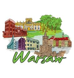 warsaw doodles vector image