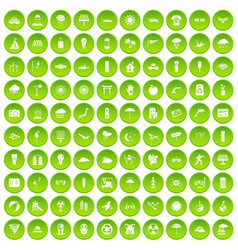 100 sun icons set green circle vector