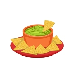 Nachos chips with guacamole traditional mexican vector