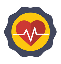 sticker heartbeat cardio vital sign vector image