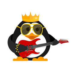 Lovely young penguin with a guitar and a bracelet vector