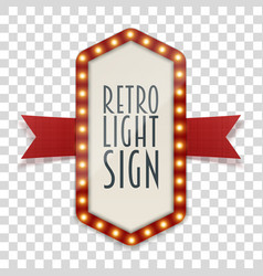 Retro light sign with space for text vector