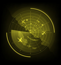 Yellow radar screen with airplane and map vector