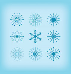 Winter detail line circle snowflakes icons set vector