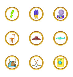 Nordic country icons set cartoon style vector