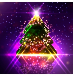 Abstract christmas tree on the colorful background vector