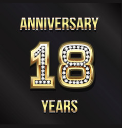 18 years anniversary card design vector