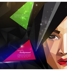 With an asian woman face in polygonal style modern vector