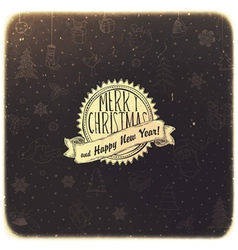 Retro christmas background golden vector