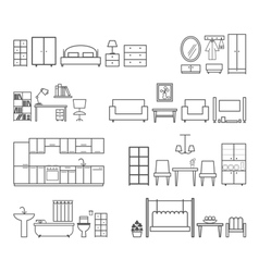 Home related icons furniture for different rooms vector