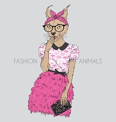 Fashion animal cute hipster caracal cat girl vector