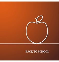 Back to school card with paper apple vector