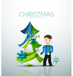 Happy businessman and stylized christmas tree vector