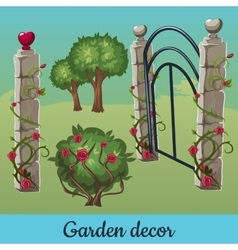 Set of old stone fences with plants vector