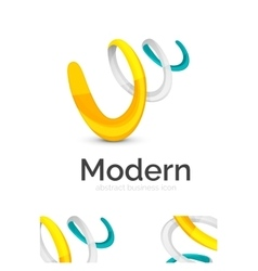 Abstract 3d swirl ribbon logo template with vector