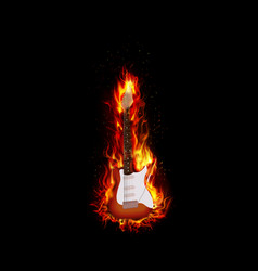 Fire burning guitar black background vector image