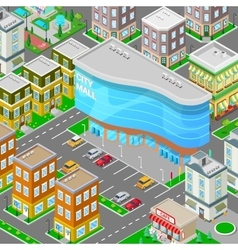 Isometric city mall modern shopping center vector