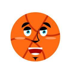Basketball happy emoji ball merry emotion isolated vector