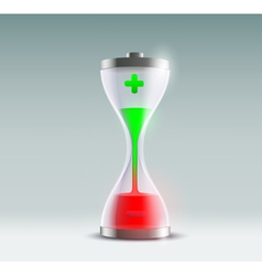 battery hourglass vector image vector image