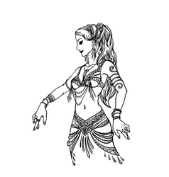 Belly Dancer Girl in Hand Drawn Style vector image