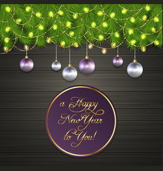 Christmas tree branches chrismas ball garland vector
