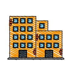 color crayon stripe cartoon facade set buildings vector image