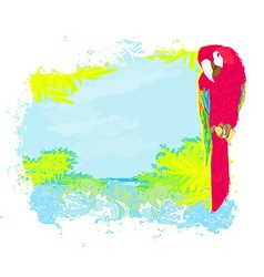 Colourful parrot bird sitting on the perch on the vector image vector image