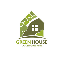 eco house with green tree background vector image
