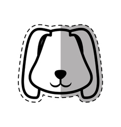 face puppy animal pet ear long dot line shadow vector image