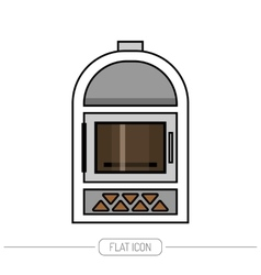 Flat color icon fireplace stove isolated on white vector