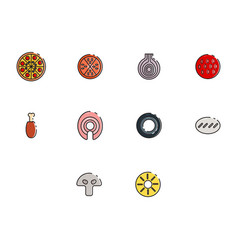 flat color pizza icon set vector image vector image