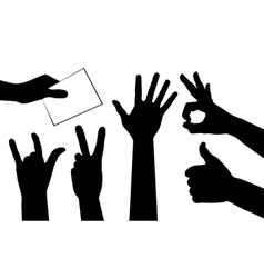 hands silhouettes vector image vector image