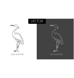 heron icon on white and black vector image