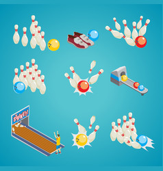 isometric bowling game elements collection vector image vector image