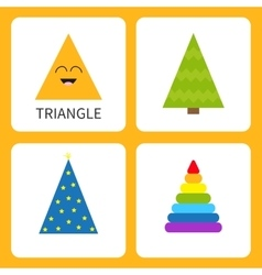 Learning triangle form shape smiling face cute vector