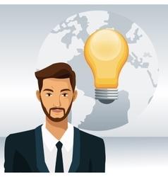 Man beard business world bulb idea vector