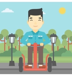 Man driving electric scooter vector image