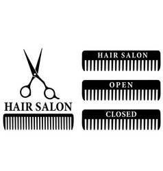 open and closed hair salon sign with scissors vector image vector image