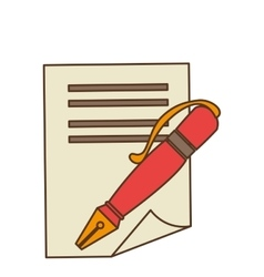 Pen with contract icon vector