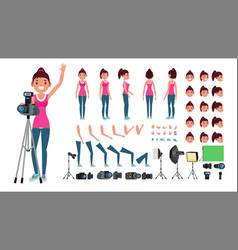 Photographer female animated woman vector