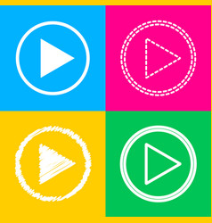 Play sign four styles of icon on vector