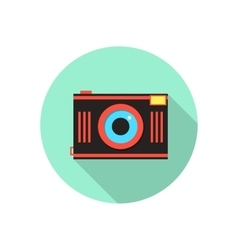 red and brown photo camera in green circle vector image vector image