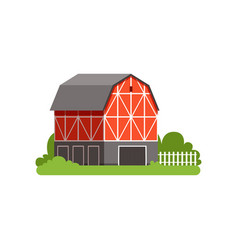 Red barn farm agricultural building countryside vector