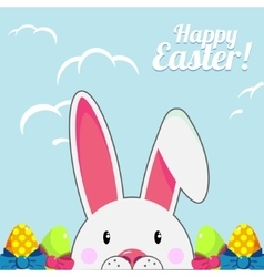Template for easter greeting card with cute white vector
