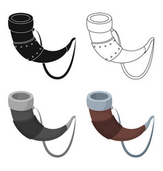Viking horn icon in cartoon style isolated on vector