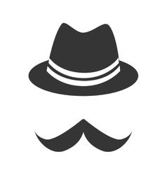 Vintage hat mustache vector