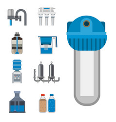 Water purification icon faucet fresh recycle pump vector