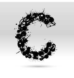Letter c formed by inkblots vector