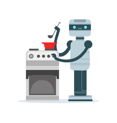 housemaid android character cooking food vector image