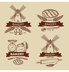 Set of vintage bakery badges and labels vector